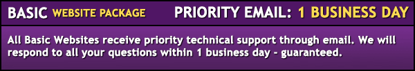 Basic package. Priority email support of 1 business day. All basic websites receive priority technical support through email. We will respond to all your questions within 1 business day - guaranteed.